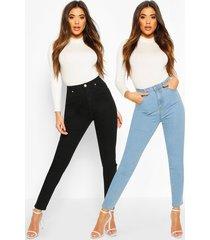 2 pack high rise skinny jeans, multi