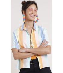 camisa feminina carnaval cropped listrada arco-íris com fenda manga curta multicor