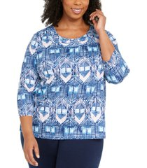 alfred dunner plus size pearls of wisdom braided neck top