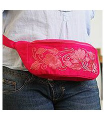 cotton waist bag, 'floral traveler' (mexico)