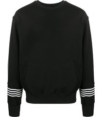 neil barrett striped cuff sweatshirt - black