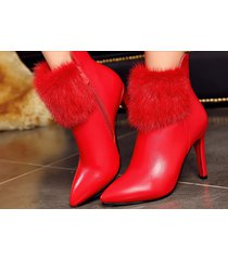 pb193 luxury mink hair martin booties, us size 4-8.5, red