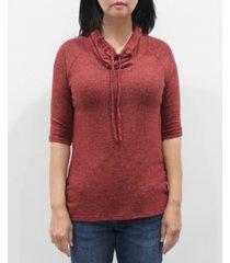 coin 1804 women's 3/4 sleeve cowl neck drawstring top