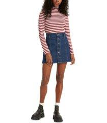 levi's a-line button-front jean skirt