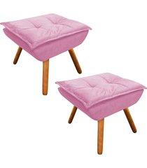 kit 02 puff  decorativo d'rossi opala suede rosa bebê