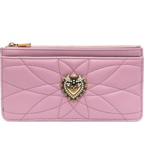 dolce & gabbana devotion zip-up wallet - pink