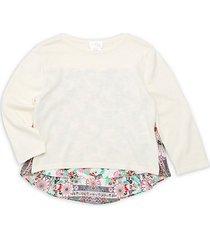 little girl's & girl's print back sweater