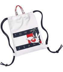 tommy hilfiger men's space jam: a new legacy x tommy jeans tommy jeans sylvester flag drawstring backpack