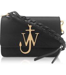 jw anderson black anchor logo bag w/braided shoulder strap