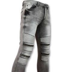 new stone biker jeans heren met rits grijs