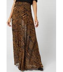 ganni women's printed georgette skirt - tiger - eu 34/uk 6