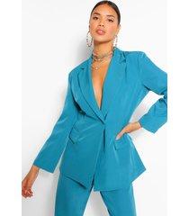 button wrap pocket detail blazer, teal