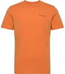 alder knowledgecotton tee - gots/ve t-shirts short-sleeved orange knowledge cotton apparel