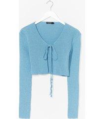 womens recycled we all love a tie-r cardigan - aqua