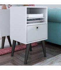 mesa de canto 1 porta linha palito bpp 01-129 branco/pés pinhão - brv móveis