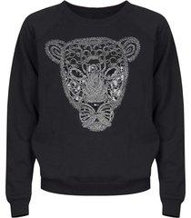 bluza z tygrysem bez kołnierzyka czarna
