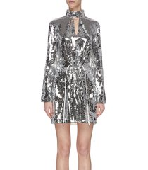 'avril' sequin split neck dress