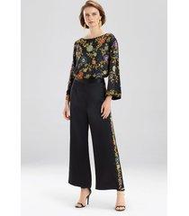 couture beaded floral pants robe, women's, black, 100% silk, size m, josie natori