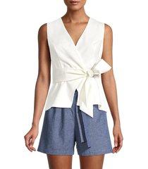 bcbgmaxazria women's faux-wrap top - off white - size m