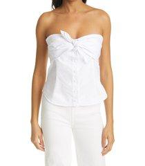 women's rta leia strapless button-up cotton blouse, size medium - white