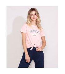 """camiseta feminina los angeles"""" manga curta decote redondo com nó rosa claro"""""""