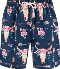 mc2 saint barth taurus head print swim shorts - blue