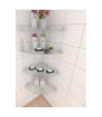 kit com quatro prateleiras para banheiro de canto 40 cm vidro temperado