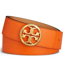 women's tory burch reversible logo belt, size large - mango/ cardamom/ gold