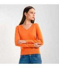 sueter para mujer en jersey naranja color amarillo talla xs