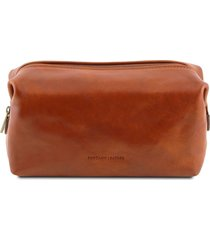 tuscany leather tl141220 smarty - beauty case in pelle - misura piccola miele