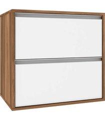 gabinete p/ banheiro sem cuba firenze 60cm mb bosi branco/marrom - marrom - dafiti