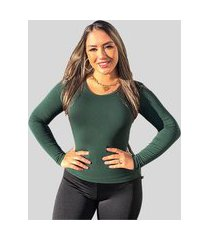 blusa segunda pele manga longa básica fec fashion gola redonda verde militar / musgo