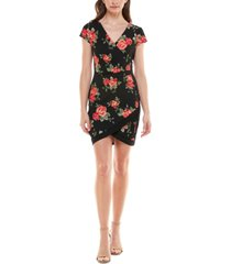 almost famous juniors' framed floral bodycon dress