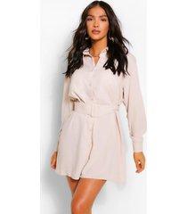 blouse jurk met lange mouwen, knopen en ceintuur, steenrood