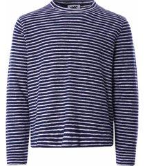 ymc x cotton stripe jersey sweatshirt | navy/ecru | p7qaq-40