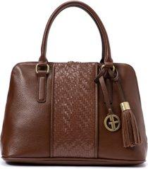 giani bernini pebble leather weave dome satchel, created for macy's