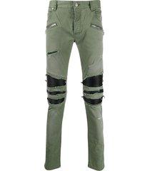balmain distressed slim-fit trousers - green