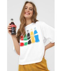 camiseta coca-cola jeans colors branca - kanui
