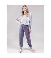 pijama longo feminino azul marinho/cinza