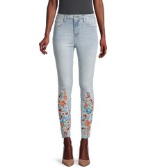 driftwood women's floral-embroidered mid-rise jeans - light wash - size 27 (4)
