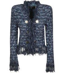 balmain button embellished fringed tweed jacket