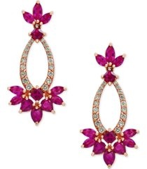 amore by effy certified ruby (3-3/4 ct. t.w.) and diamond (1/3 ct. t.w.) drop earrings in 14k rose gold