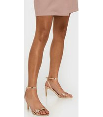 nly shoes dancing knot heel sandal high heel rose gold