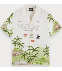 scotch & soda overhemd met holiday-print   hawaii fit