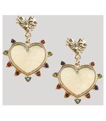 brinco feminino coração com strass colorido dourado