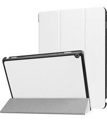 para huawei mediapad m3 lite 10 custer textura de funda de cuero flip horizontal con 3-folding titular y dormir / despertar (blanco)