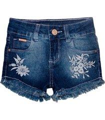 bermuda jeans garota lua shorts bordado manabana menina azul - azul - menina - dafiti