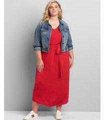 lane bryant women's curved-hem maxi dress 22/24 venetian red