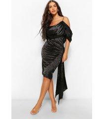 satijnen jacquard midi jurk met open schouders, zwart