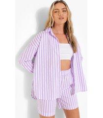 oversized gestreepte blouse en shorts, lilac